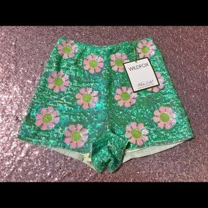 Wildfox Couture Psychedelic Daisy Sequin Shorts